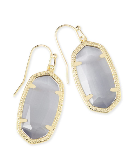 Dani Earring Slate Cat's Eye and Gold
