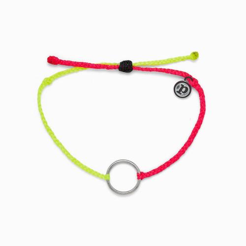2 Tone Silver Circle Yellow Pink Bracelet
