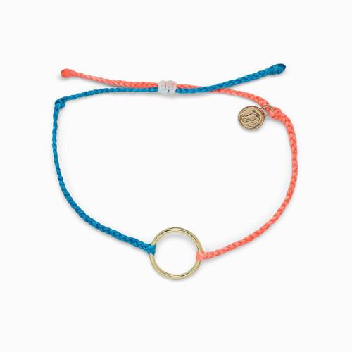 2 Tone Gold Circle Blue Strawberry Bracelet