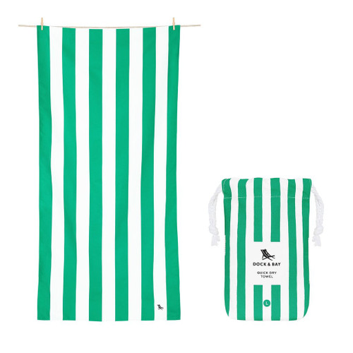 Green Stripe Large Quick Dry Towel