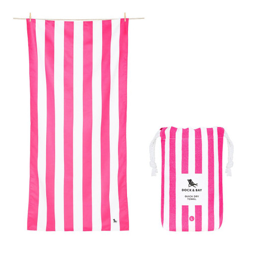 Pink Stripe Large Quick Dry Towel