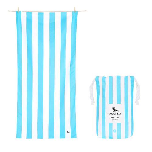 Light Blue Stripe Large Quick Dry Towel