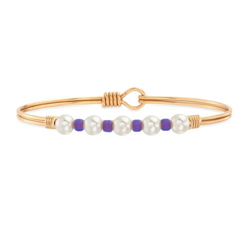 Crystal Pearl Purple Bead Brass Bangle
