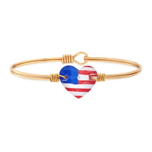 Americana Crystal Heart Brass Bangle