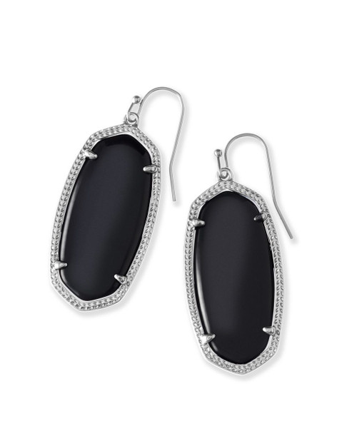 Elle Earring Black with Silver Metal