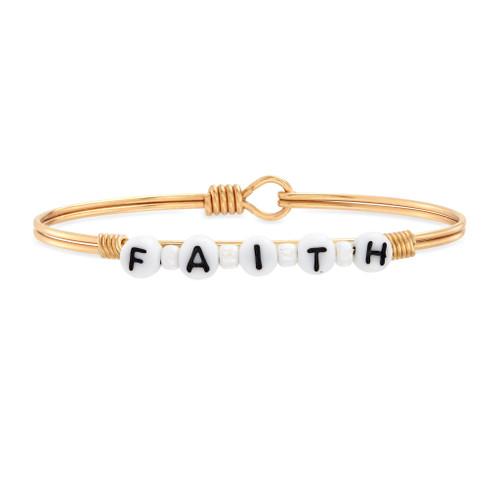 Faith Bead Brass Bangle