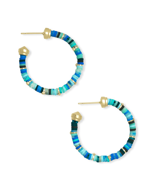 Reece Small Hoop Earring Gold Sea Green