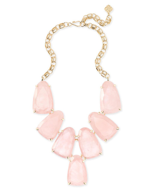 Harlow Necklace Gold and Rose Quartz