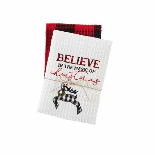 Believe Buffalo Check Waffle Towel