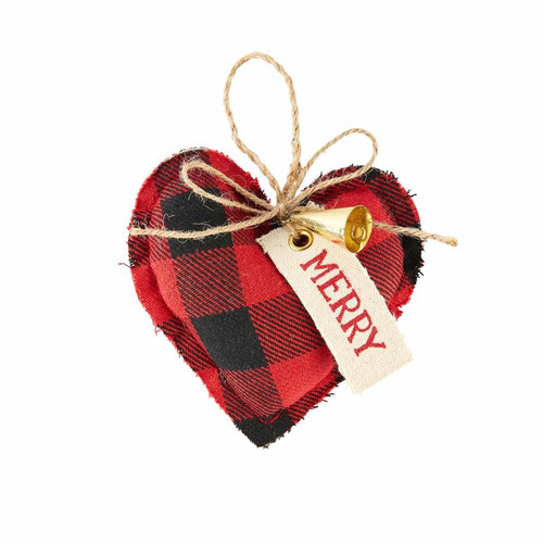 Heart Buffalo Check Ornament