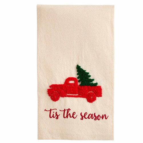 Truck Christmas French Knot Towel