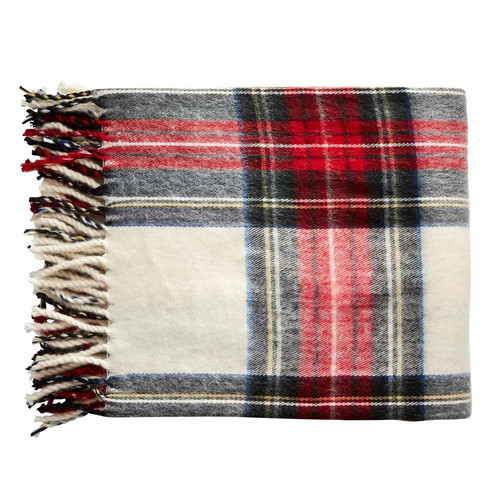 White Tartan Fringe Throw