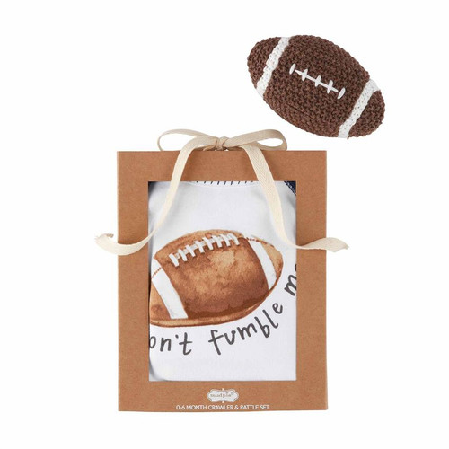 Football Knit Rattle Gift Set