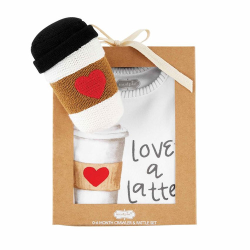 Coffee Food Knit Rattle Gift Set