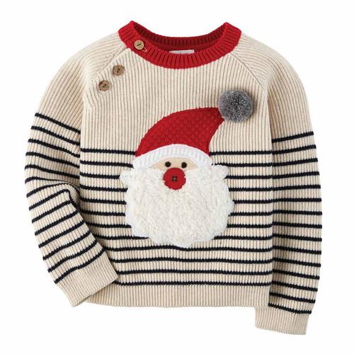 Boy Striped Santa Sweater 4-5t