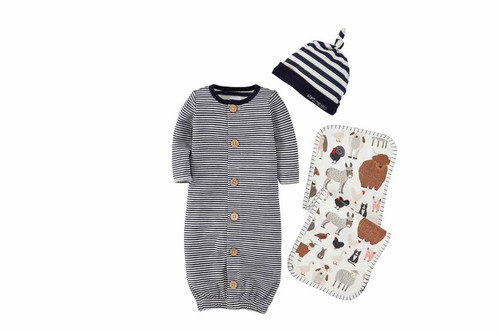 Blue Stripe Boxed Gift Set 0-3M
