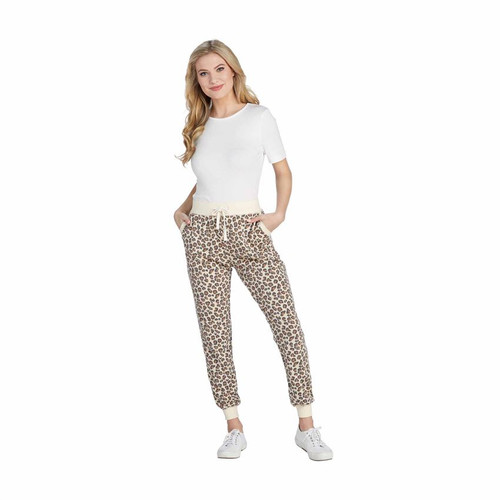 Large Tan Leopard Fanning Joggers