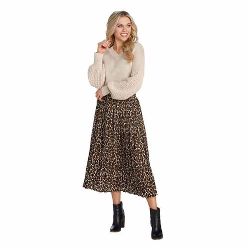 Large Tan Leopard Celeste Midi Skirt