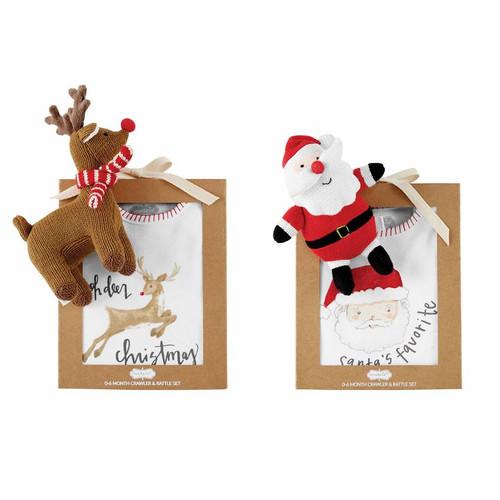 Santa Christmas Knit Rattle Gift Set