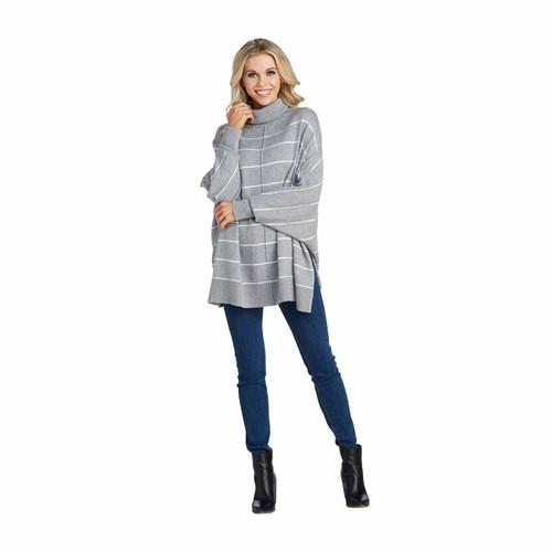 Grey Alina Striped Turtleneck