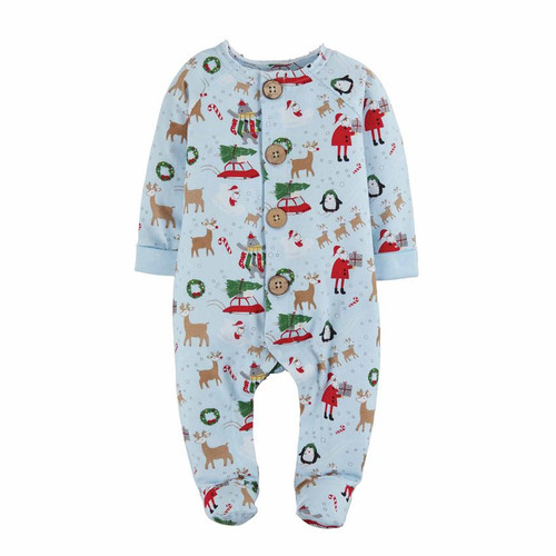 Boy Christmas Print Sleeper 3-6m