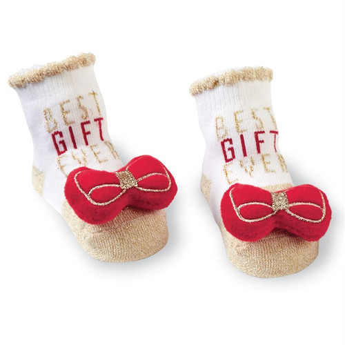 Christmas Bow Rattle Toe Socks