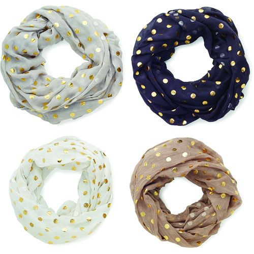 Taupe Gold Dot Scarf