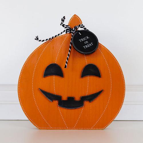 Orange Wooden Pumpkin Trick or Treat