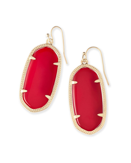 Elle Earring Red with Gold Metal