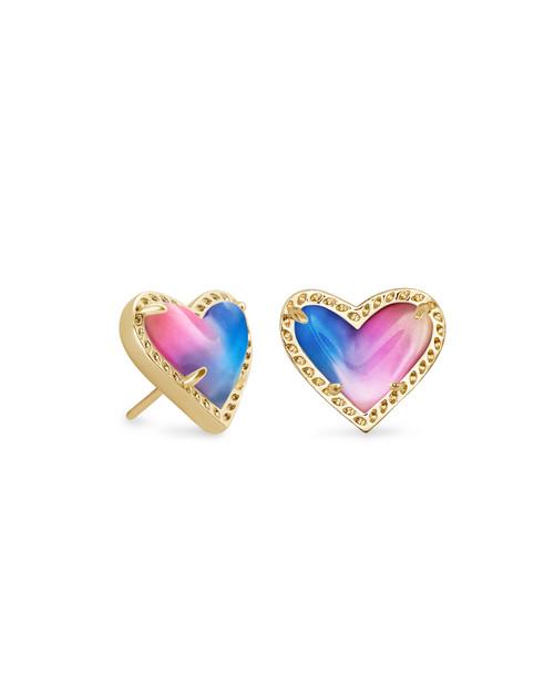 Ari Heart Gold Watercolor Illusion Earring