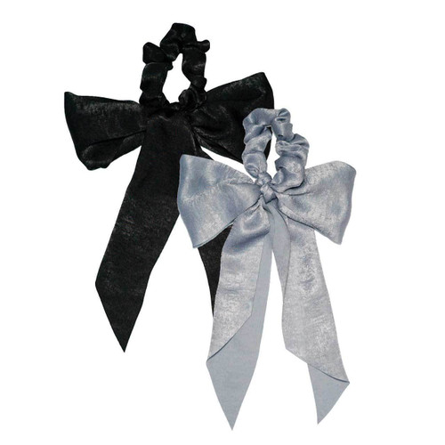 Black/Gray Satin Bow Scarf Scrunchie