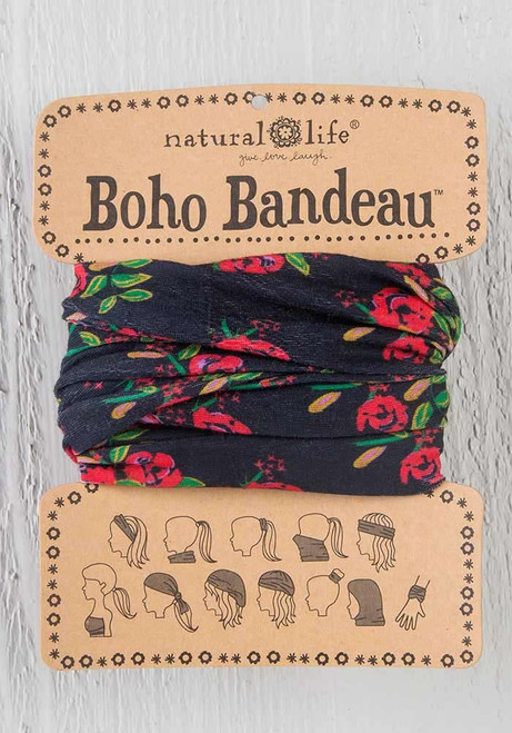 Black Blooms Boho Bandeau