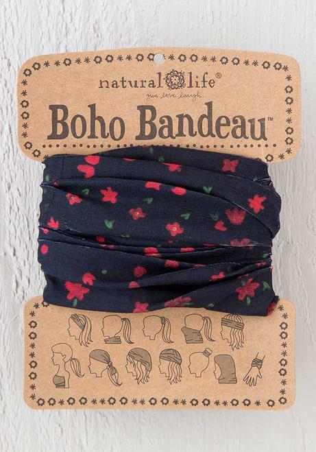 Black Red Flowers Boho Bandeau