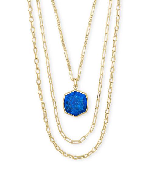 Davis Gold Cobalt Multi Strand Necklace