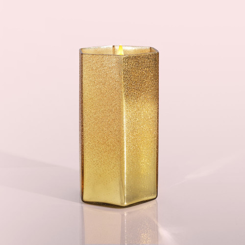 Gold Glitter Hexagon Volcano 17 oz Candle
