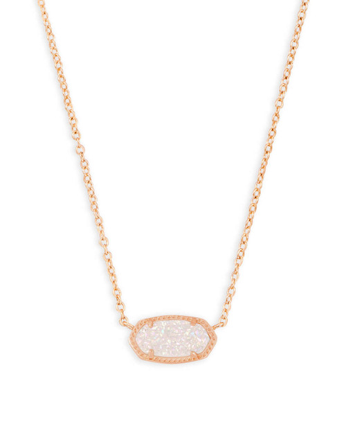 Elisa Necklace Rose Gold and Iridescent Drusy
