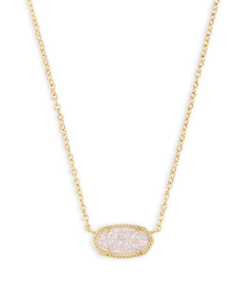 Elisa Necklace Gold and Iridescent Drusy