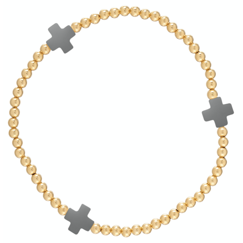 Charcoal Gold Cross 3mm Bead Bracelet