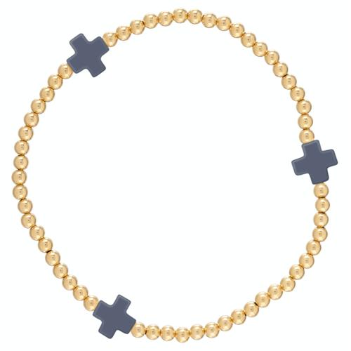 Navy Gold Cross 3mm Bead Bracelet
