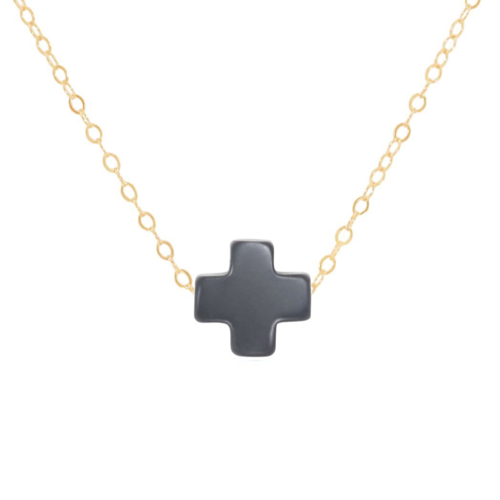"16"" Charcoal Gold Cross Necklace"
