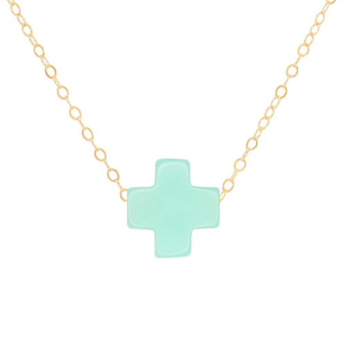 "16"" Mint Gold Cross Necklace"