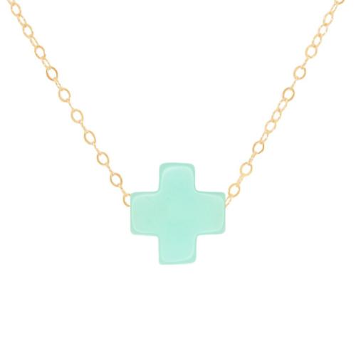 "16"" Mint Gold Cross Necklace"
