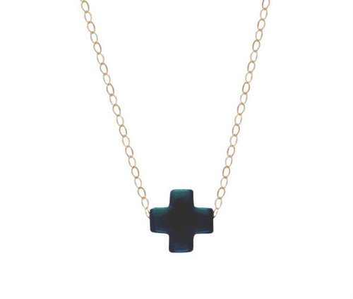 "16"" Navy Gold Cross Necklace"