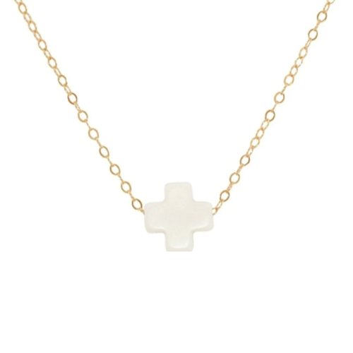 "16"" Off White Gold Cross Necklace"