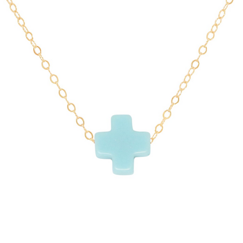 "16"" Turquoise Gold Cross Necklace"