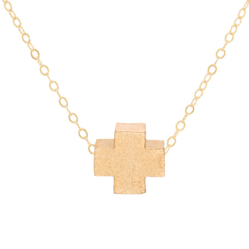"16"" Matte Gold Gold Cross Necklace"