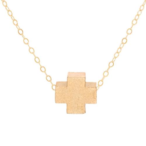 "16"" Matte Gold Gold Cross Necklace"