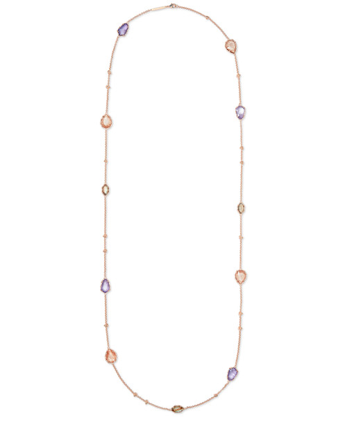 Gwenyth Long Strand Necklace Rose Gold Blush Mix