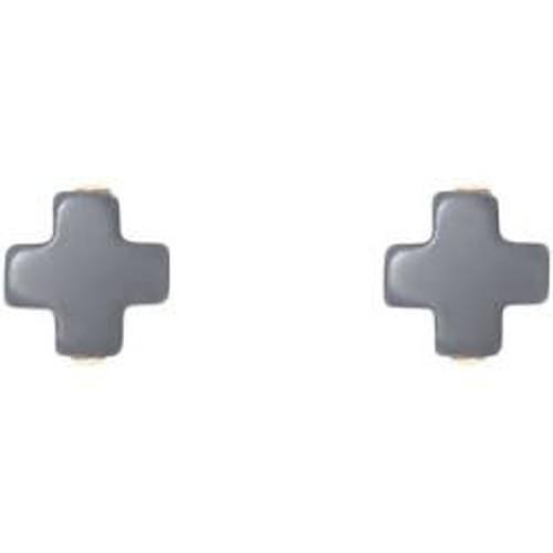 Charcoal Cross Stud Earring