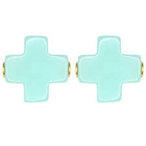 Mint Cross Stud Earring
